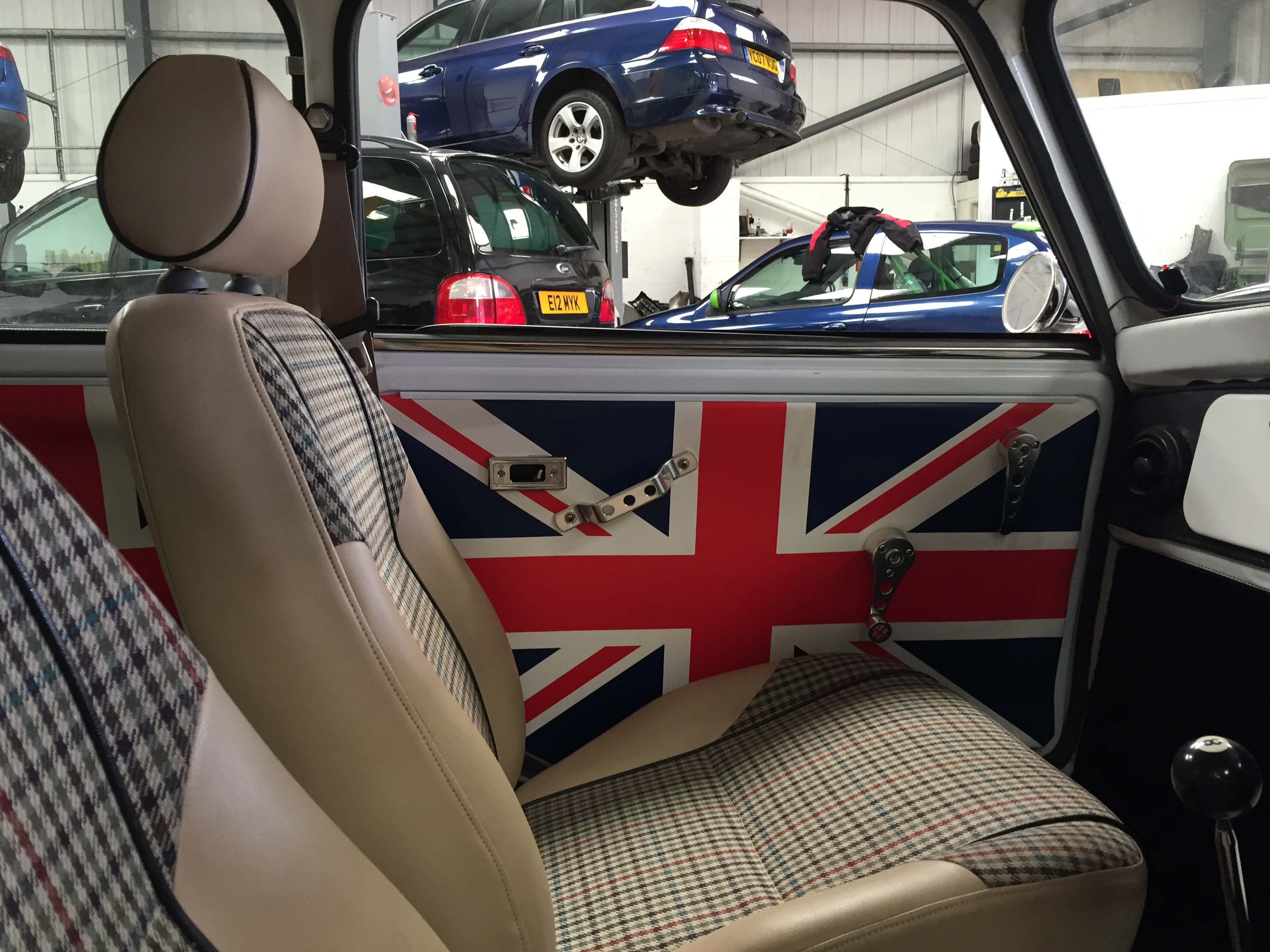 Interior of Rover Mini at our garage in newbury