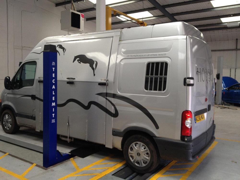 MOT Testing Centre - Horsebox being MOT'd on the MOT Ramp at Motech Autocentres Newbury