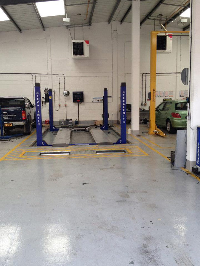MOT bay at Motech Autocentres, Newbury, Berkshire