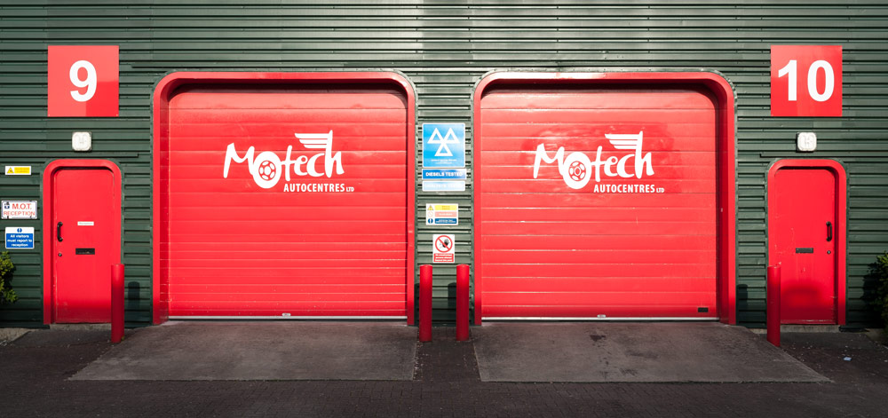 Garage doors at Motech Autocentres, Newbury.