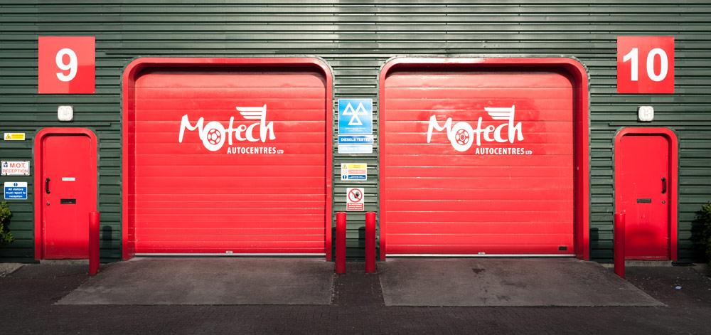 Garage doors at Motech Autocentres, Newbury.